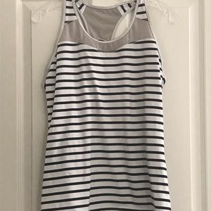 Athleta Mesh Striped Racerback Tank Sz L